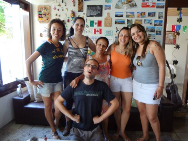 Hanging out with some new friends in Slow Hostel, Joao Pessoa